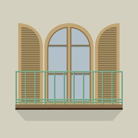 Open Door Mit Balkon Vintage Style Vector Illustration