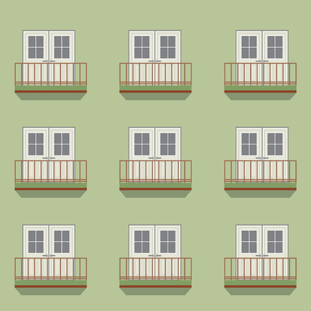 balcony view: Closed Doors With Balcony Vintage Style Vector Illustration