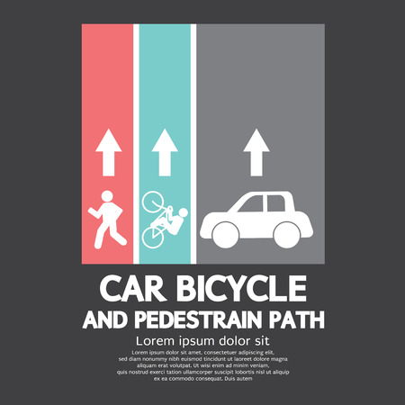 pedestrian: Car, Bicycle and Pedestrian Path Vector Illustration Illustration