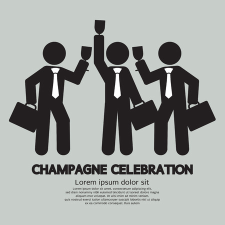 fizz: Businessmen With Champagne Celebration Symbol Vector Illustration
