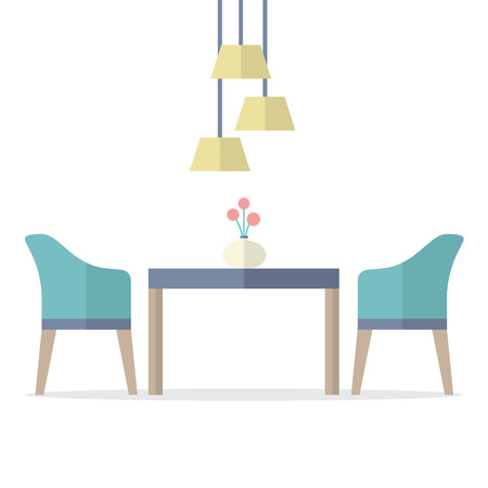 chairs: Flat Design Interior Dining Room Vector Illustration