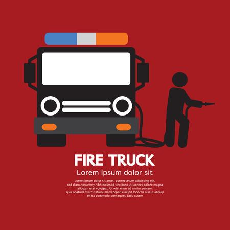 firetruck: Fire Truck With A Man Vector Illustration