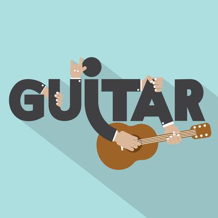 Guitar Typography With Microphones Design Vector Illustration Vector
