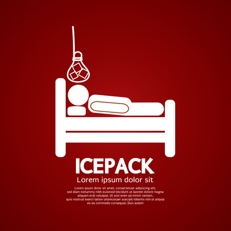 cold compress: Patient On Bed With Ice Pack Vector Illustration Illustration
