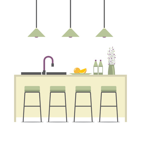 modern interieur: Modern Flat Design Kitchen Interior Vector Illustration