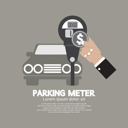 traffic violation: Hand Insert Coin Into Parking Meter Vector Illustration