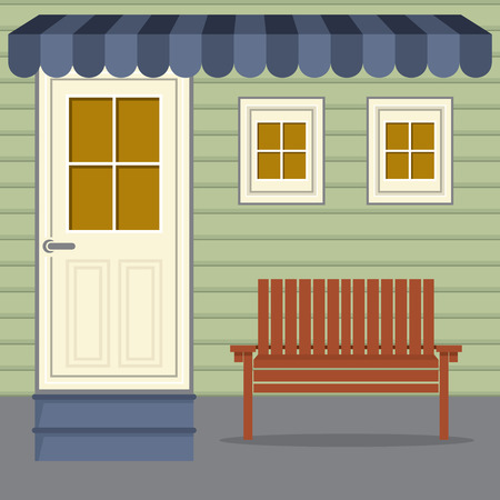porch chair: Wooden Chair Under Stripes Awning Vector Illustration Illustration