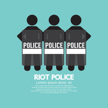riots: Riot Police Standing With Shield Vector Illustration