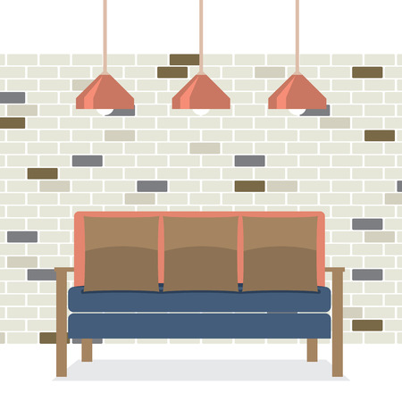 modern interieur: Modern Flat Design Sofa Interior Vector Illustration