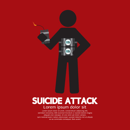 suicidal: Suicide Attack With Bomb Symbol Vector Illustration