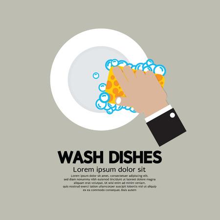 manos sucias: Lavar los platos a mano con la ilustraci�n vectorial Esponja
