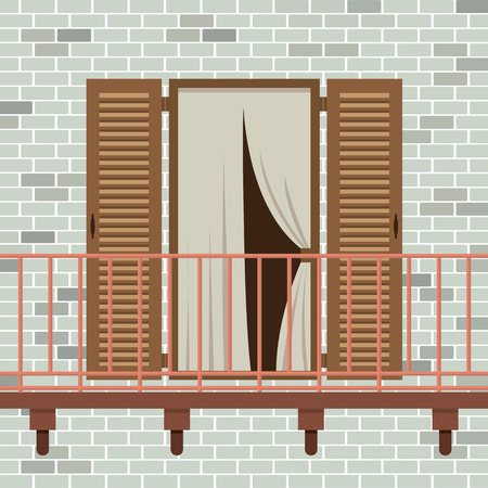 front porch: Opened Wooden Door With Balcony Vector Illustration