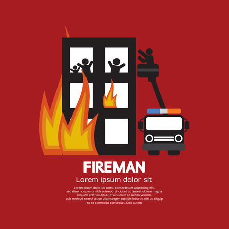 victims: Fireman On Truck Helping The Victims Vector Illustration