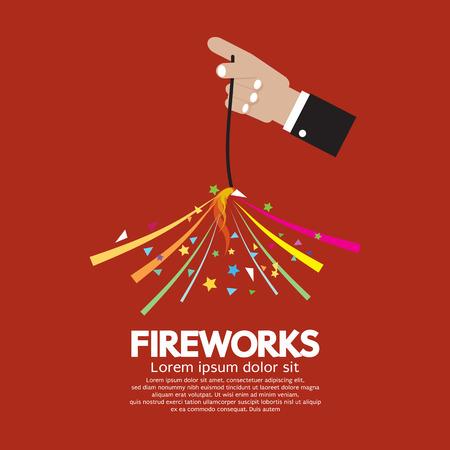 sparkler: Burning Sparkler Firework In Hand Vector Illustration Illustration
