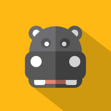 Modern Flat Design Hippopotamus Icon Vector Illustration Vector