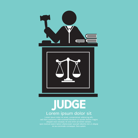judge hammer: Judge With Gavel Symbol Graphic Vector Illustration