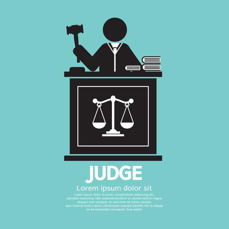 martillo juez: Juez Con Ilustración Mazo Símbolo Gráfico vectorial
