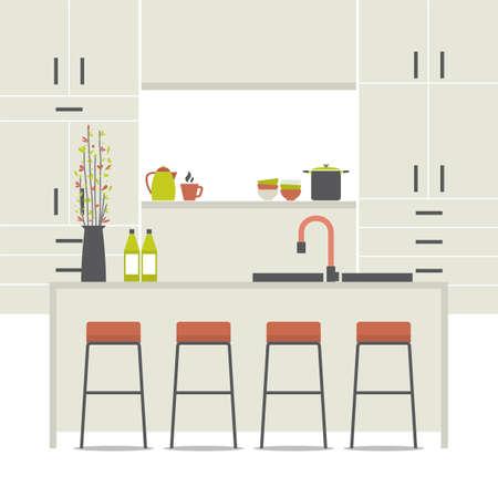 Modern Flat Design Kitchen Interior Vector Illustration Vector