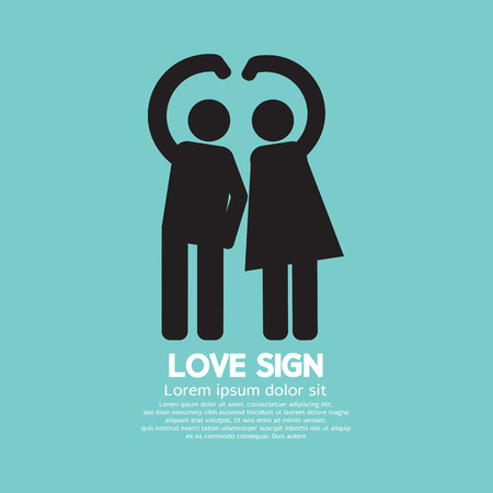 Man And Woman With Love Sign Gesture Vector Illustration Vector