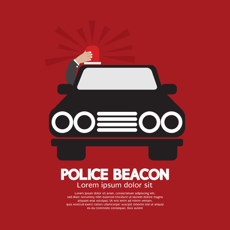 flasher: Police Beacon At Car Roof Vector Illustration Illustration