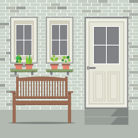 plant pot: Wooden Chair With Pot Plant And Brick Background Vector Illustration Illustration