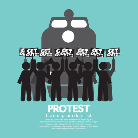 on strike: Train Workers Strike And Protest Symbol Vector Illustration