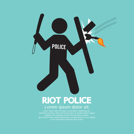 riots: Riot Police Holding A Shield Vector Illustration
