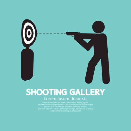 Gun Athlete At Shooting Gallery Symbol Vector Illustration Vector