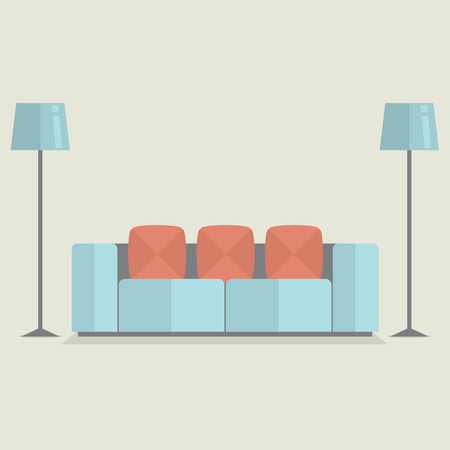 Modern Sofa Vintage Style Vector Illustration Vector