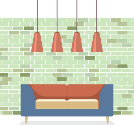 modern interieur: Modern Flat Design Sofa Interieur Vector Illustratie Stock Illustratie