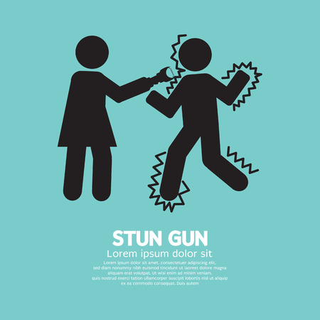 defensa personal: Mujer que usa una pistola de aturdimiento con un hombre ilustración vectorial