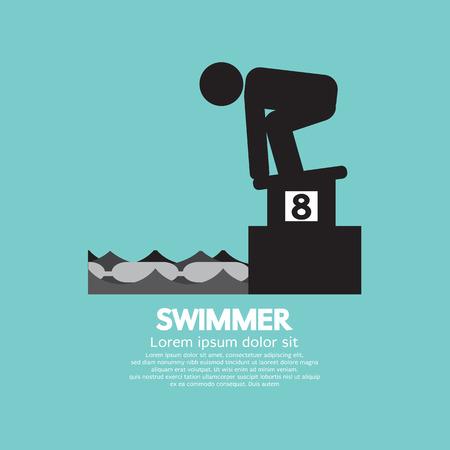 starting: Swimmer At Starting Block Symbol Vector Illustration