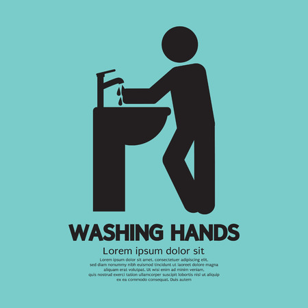 washing hands: Washing Hands Black Graphic Symbol Vector Illustration