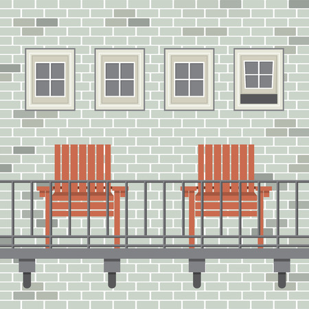 patio chair: Empty Wooden Chairs At Balcony Vector Illustration Illustration