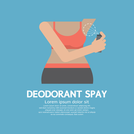 personal care: Sporty Woman Using Deodorant Spray Vector Illustration