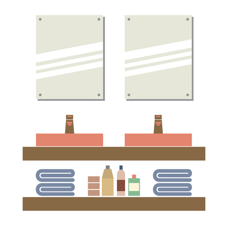 double tap: His And Her Sink With Mirrors Vector Illustration