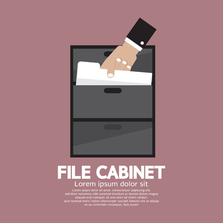 filing: Hand Picking A Document From A File Cabinet Vector Illustration