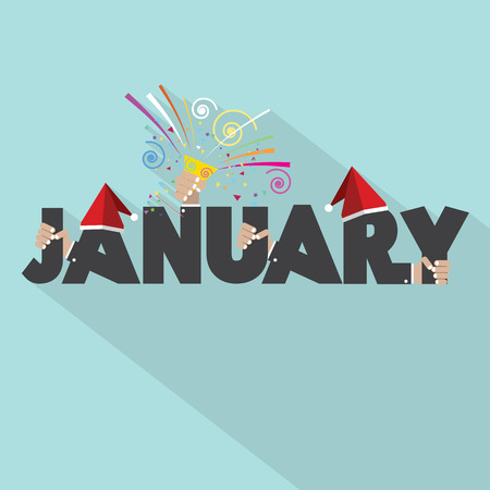 popper: January Typography Design Vector Illustration Illustration