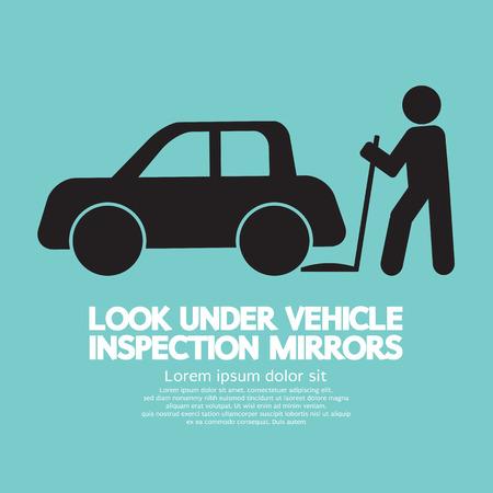 inspeccion: Ilustraci�n Lookunder Inspecci�n de Veh�culos Espejos Vector