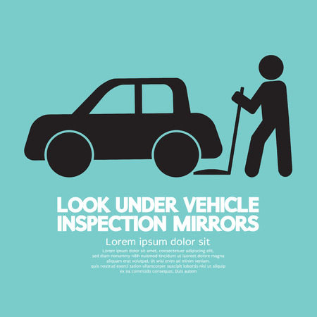 inspection: Lookunder Vehicle Inspection Mirrors Vector Illustration