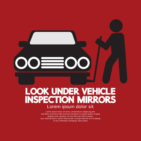 undercarriage: Lookunder Vehicle Inspection Mirrors Vector Illustration
