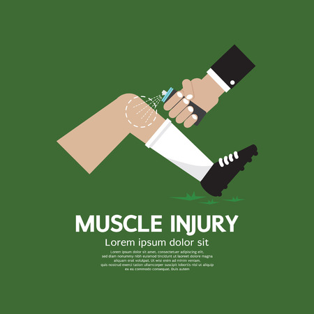 healing: Muscle Injury With Spray Healing Vector Illustration