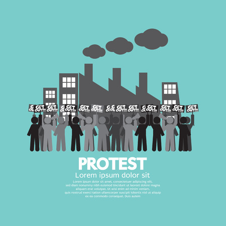 plant stand: Group Of Workers Protest In Front Of  The Factory