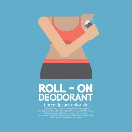 Sportieve vrouw met behulp van Roll-on Deodorant Vector Illustration Stock Illustratie