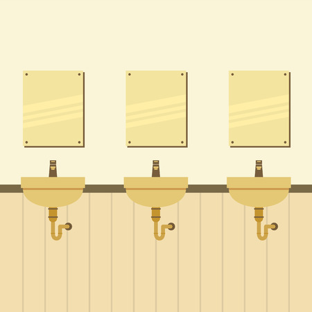 in a row: Row Of Lavatories With Mirrors Vector Illustration