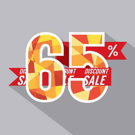 65: Flat Design Discount 65 Percent Off Vector Illustration