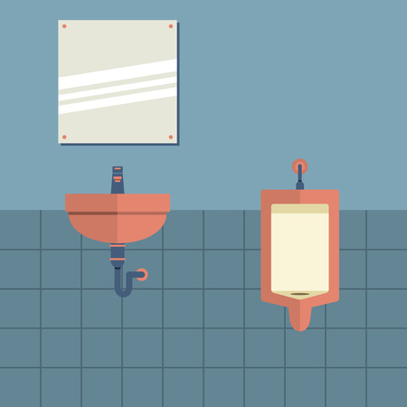 Lavatory With Mirror Beside Urinal Vector Illustration