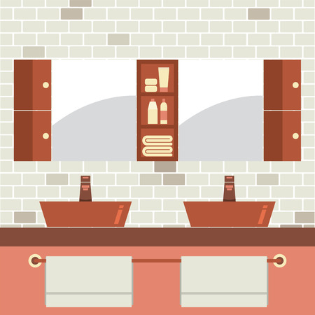 double sink: His And Her Sink With Mirrors Vector Illustration
