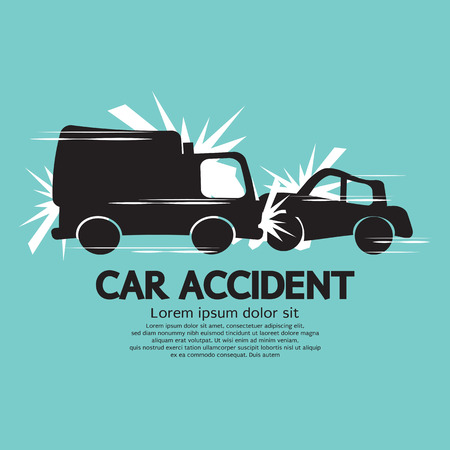Truck And Car In An Accident Vector Illustration  イラスト・ベクター素材