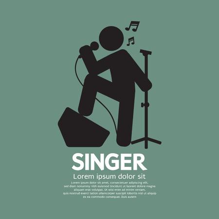 singer: Standing Singer Black Graphic Symbol Vector Illustration Illustration